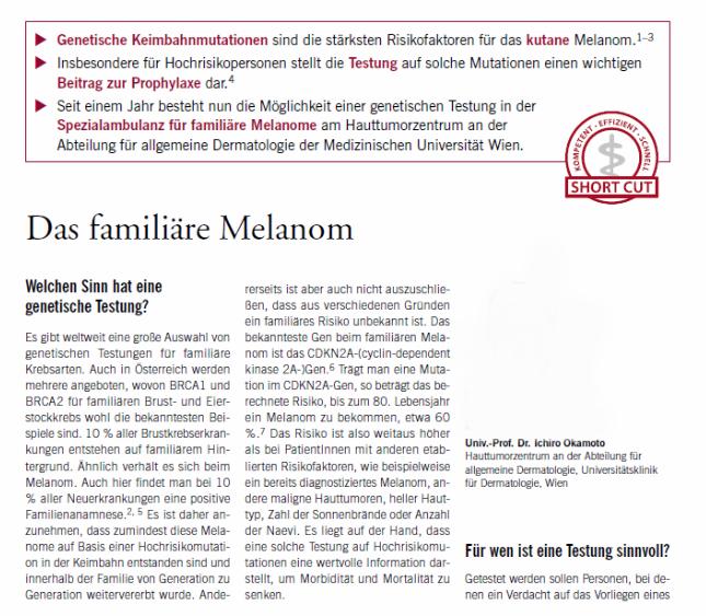 Artikel im SPECTRUM: Das familiäre Melanom, Hautarzt Dr. Okamoto in Wien