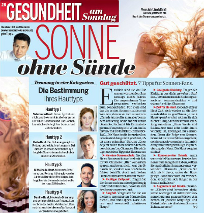 Dr. Okamoto informs about sun protection in the Sunday edition of ÖSTERREICH -