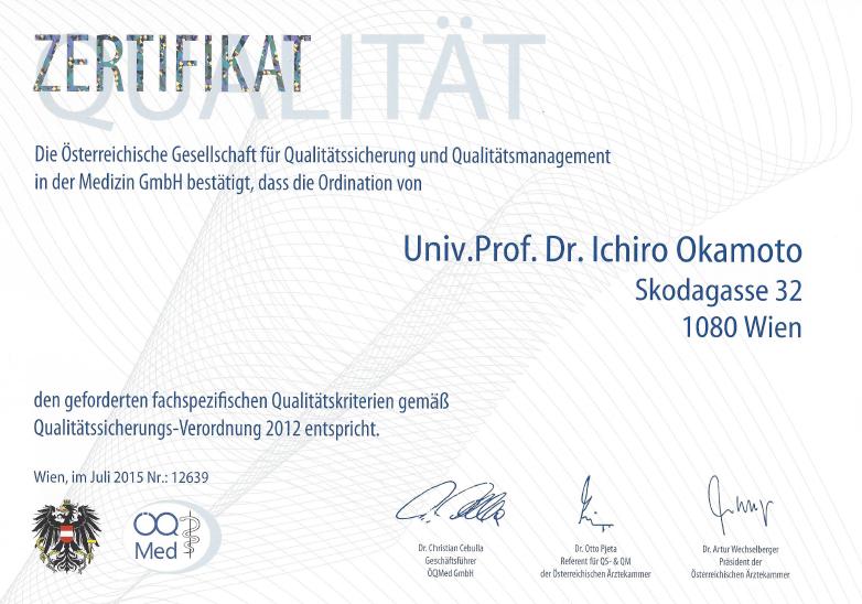 Haurarzt Dr Okamoto Wien Zertifikat Qualitätssicherungsverordnung 2015